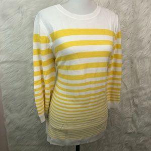 Talbots Women's White & Yellow Strips Sweater