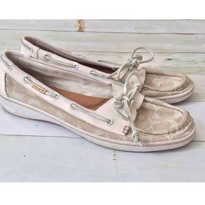 COACH Richelle boat shoes white size 10B