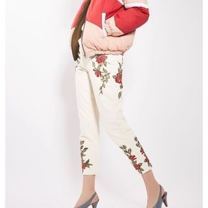 TopShop Rose Embroidered Mom Jeans