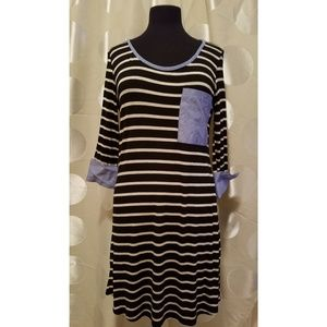 BRAND NEW!! Black 3/4 Sleeve Tunic Style Dress