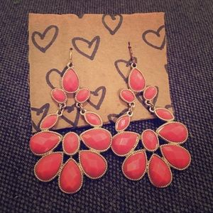 Francesca's Chandelier Teardrop Earrings - Coral
