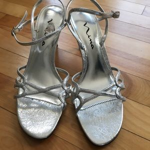 Nina 10 Silver Strappy Party Shoes Leather soles