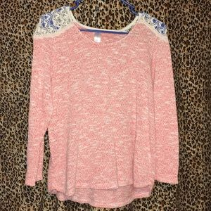 Coral high-low knot top