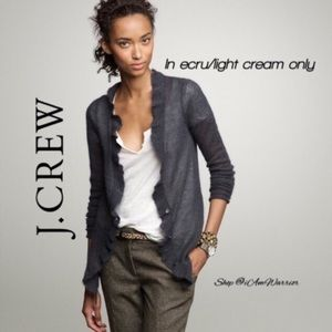 J. Crew ecru/light cream lumiere ruffle cardigan