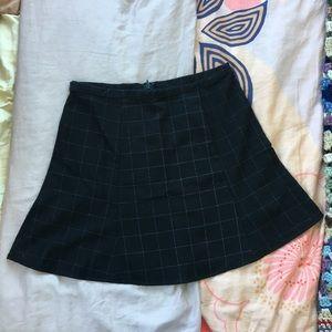 Black AA Grid Pattern Skater Skirt