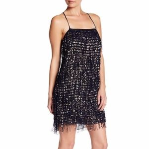 Nicole Miller Foil Fringe Chiffon Shift Dress NWT