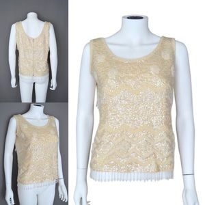SEQUIN Beaded Fringe Top Evening Ivory Tank Shell