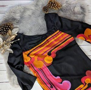 TIBI • silk abstract long sleeve shift dress mod