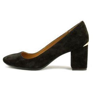 Calvin Klein Cirice Suede Round Toe Studded Heel