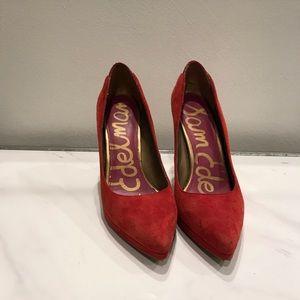 Sam Edelman Celia red suede heels sz 7.5