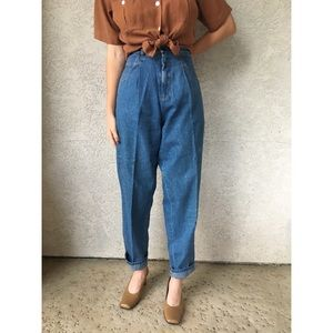 [vintage] ultra high waist pleated mom jeans