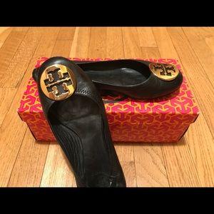 Tory Burch Black/Gold Classic Reva Flats 7.5