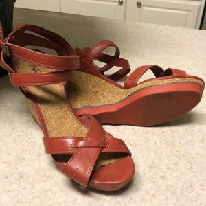 Cato Red Rust Colored Strappy Wedge Platforms