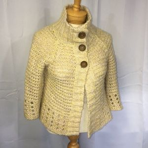 (Free People) Yellow Shimmer Chunky Knit Shrug