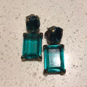 Green jewel and gold J Crew earrings