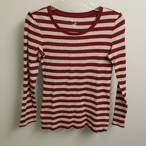 Gap Wine & Grey Striped Long Sleeve Top in Small