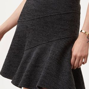 LOFT Herringbone Seamed Flippy Skirt