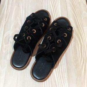 Black suede grommet gladiator sandal
