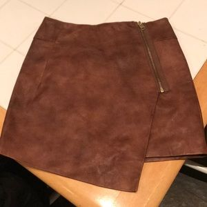 H&M Brown faux leather asymetrical skirt