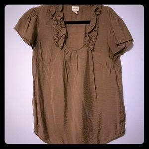 Flowy tan blouse with ruffles, flutter sleeves