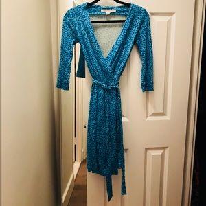 Classic DVF wrap dress in a fun resort color