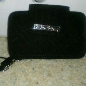 Vera Bradley Black Microfiber Wristlet