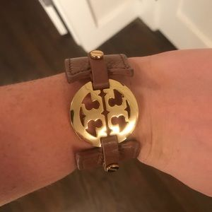 Tory Burch leather and gold cuff