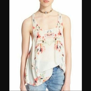 Free People Floral Soft Cross Back Top Shirt Pink