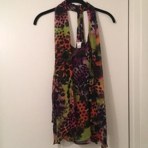 100% silk DVF sleeveless blouse with shawl details