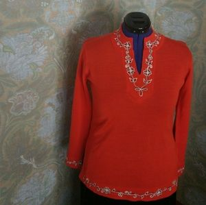 1960's Embroidered Tunic Sweater -Size L