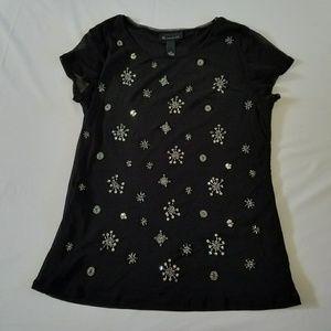 Beautiful INC shear black snowflake beaded blouse