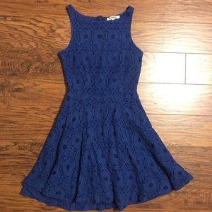 A line blue lace dress