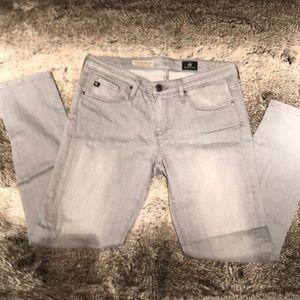AG The Stevie Ankle Petite Gray Skinny Jeans
