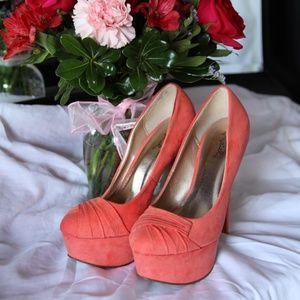 peach shoes/ platform  high heels