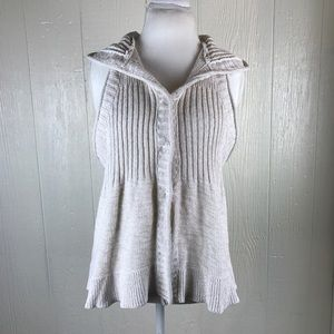 [Free People] knit vest hooded cream size medium