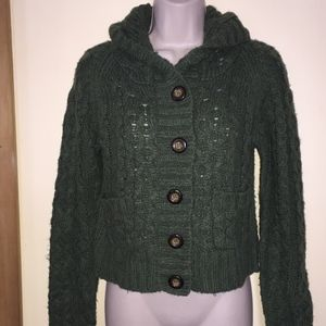 FREE PEOPLE dk green cropped hooded sweater