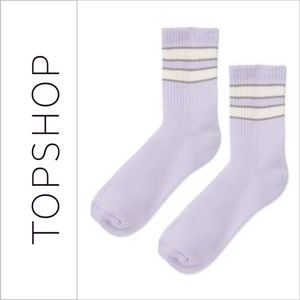 Topshop Purple Striped Sporty Ankle Tube Socks