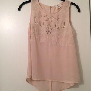 Blush laser cut blouse