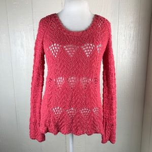 [Lucky Brand] Knot Bell Sleeve Sweater Coral Pink