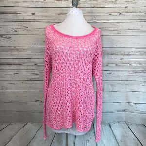 Hollister pink open knot sweater size medium