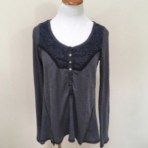Free People Charcoal Gray Henley Top Large