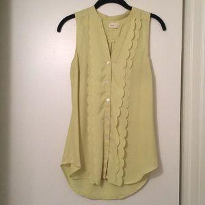 Anthropologie lime green sleeveless blouse