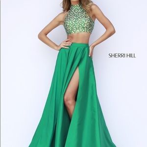 Sherri Hill Emerald Green Two Piece