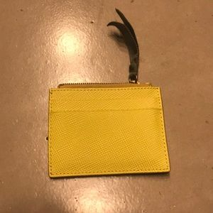 J.Crew yellow leather coin purse w/ two card slots