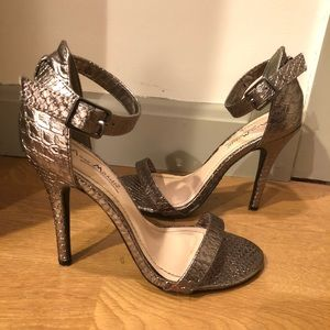 Silver Snakeskin Strappy Heels