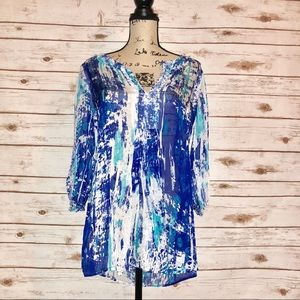 Soft Surroundings V Neck Semi Sheer Tunic Size M