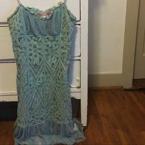 Betsey Johnson 10 Vintage Crochet Mint Dress