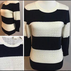 MOTH Anthropologie Wool Rabbit Hair Stripe Sweater