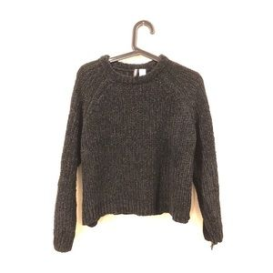 Chenille high neck black pullover sweater