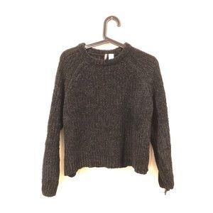 Chenille high neck black pullover sweater